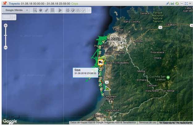 Recorrido Análisis de Rendimiento de Combustible vehículo Embarcación Coya
